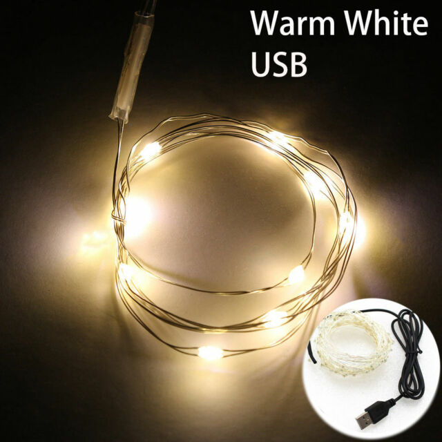 100LED Battery Operated Mini LED Copper Wire String Fairy Lights 1-10M White