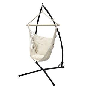 Poltrona sospesa ad amaca sedia con supporto a sostegno telaio in metallo crema