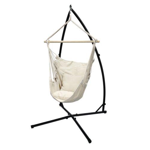 Poltrona sospesa ad amaca sedia con supporto a sostegno telaio in metallo crema Per il giardino