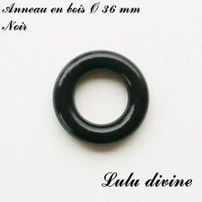 Anneau en bois de 36 mm (XS) sans trou, pour hochet bébé : Noir