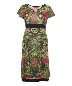 Le Prix Le Moins Cher Vert Citron Taille Robe 10 Tapestry Design Femme Avec Manches Courtes-afficher Le Titre D'origine