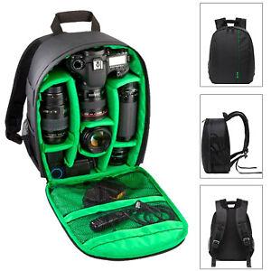 Camera Backpack Bag Waterproof Lens Case Rucksack For DSLR Canon EOS Nikon Green