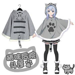 Game-Neko-Atsume-Cloak-Cute-Cat-Backyard-Lolita-Girl-Hoodie-Coat-Warm-Cape