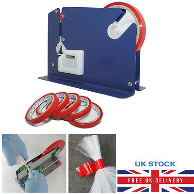 Metal Plastic Bag Neck Sealer With Trimming Blade + 6 Rolls Of Vinyl Tape Seal