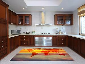 World Map Wallpaper Adelaide. Image is loading 3D Sky World Map Kitchen Mat Floor Murals  Wall Print Deco AJ