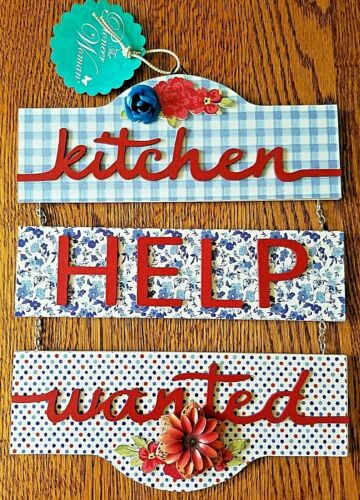 """Pioneer Woman Kitchen Dangle Wall Plaque 12.5/""""H x 9.75/""""W kitchen help wanted"""
