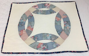 Patchwork Quilt Wall Hanging, Wedding Ring, Floral Calicos, Hand Quilted