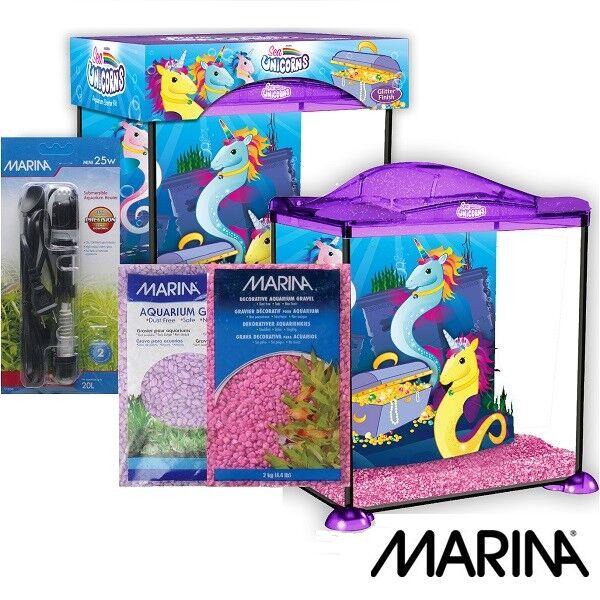 Marina Sea Unicorn Kid Aquarium Starter Glass Fish Tank 17L with Gravel & Heater