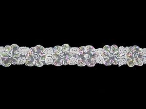 """Unotrim 1.5"""" Pearl Beaded Iridescent Sequins Corded Organza Trim By Yard Lace"""