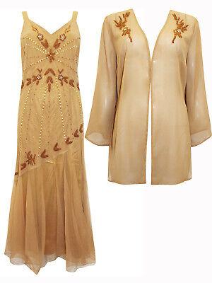 Ladies/' DUCK EGG BLUE Bead /& Sequin Sleeveless Midi Dress /& Jacket Suit 22//24