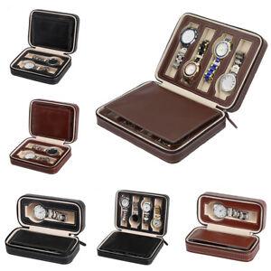 71aca904f 2/4/8 Grids Travel Watch Zipper Box PU Leather Storage Case ...