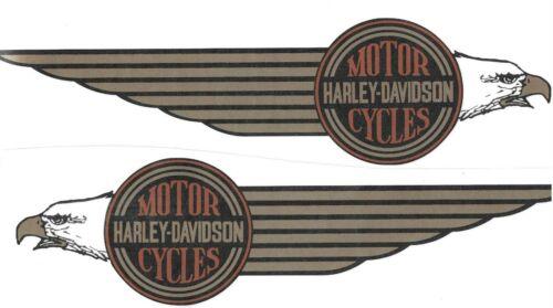 For HARLEY DAVIDSON FLH FX 14061-84 14062-84 EAGLE-GOLD BROWN BLACK DECAL TANK