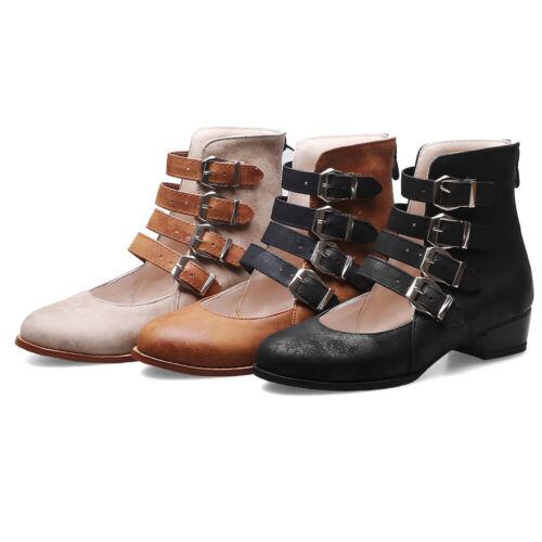 Da Donna a Punta Fibbia Zip Stivaletti Tacco Basso Scarpe Basse Scarpe sandali gladiatore