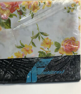Vintage-Fieldcrest-Peace-Rose-Double-Fitted-Flat-Sheet-Perfection-Percale-MOD