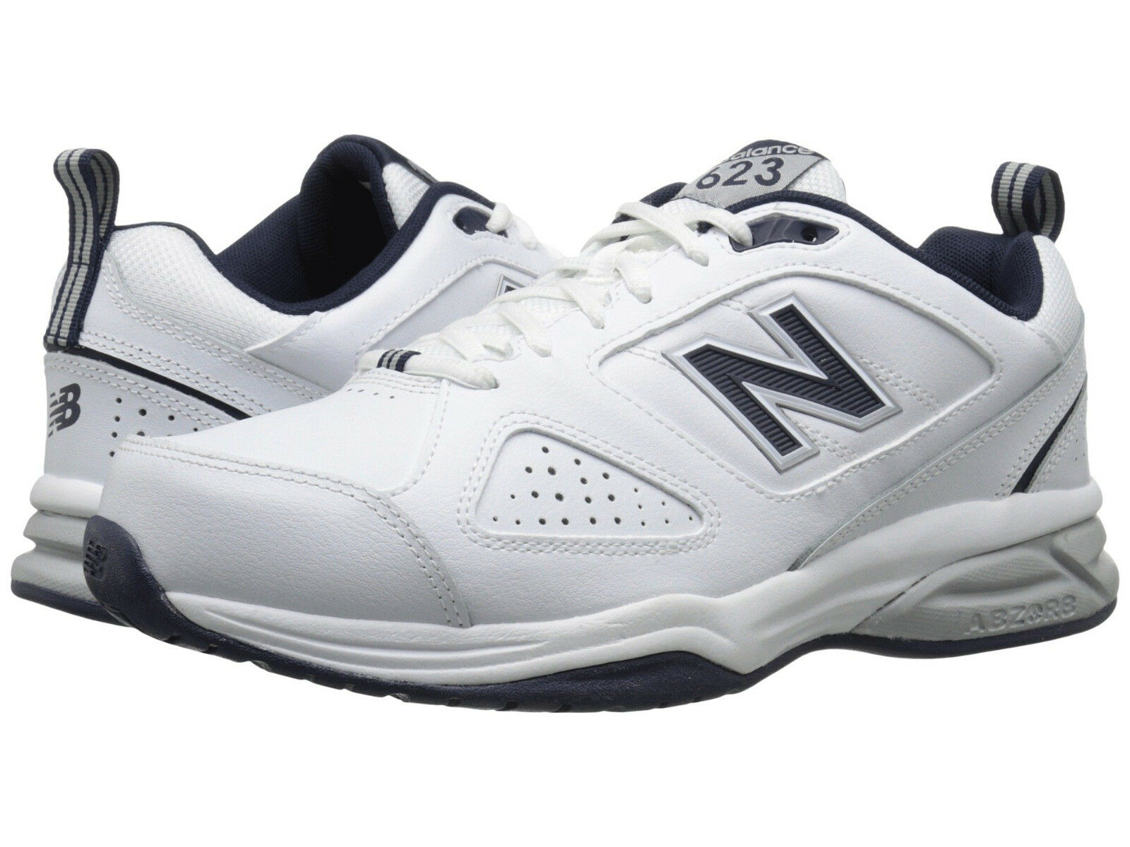 Men New Balance MX623WN3 Walking shoes Medium D White Navy Leather 100%Authentic