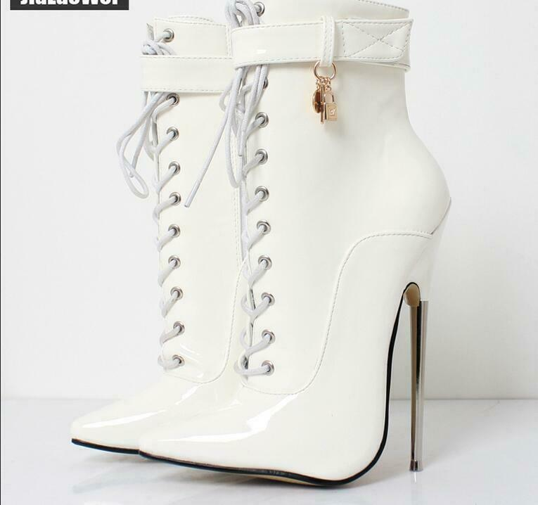 Lady High Heels shoes shoes shoes Sexy Patent Leather Shiny Lace Up 18 CM Heels Ankle Boots 381044