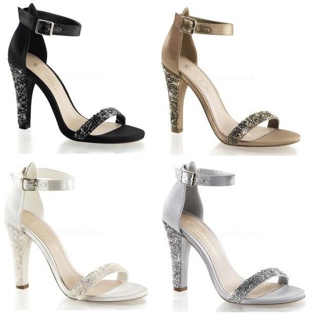 PLEASER CLEARLY 436 SATIN HIGH HEEL ANKLE STRAP SANDALS RHINESTONE CLEARANCE