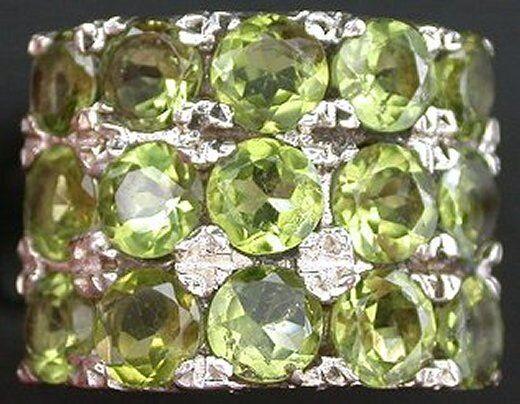 Peridot Round  Gem Stone Gemstone Sterling Ring Size 7