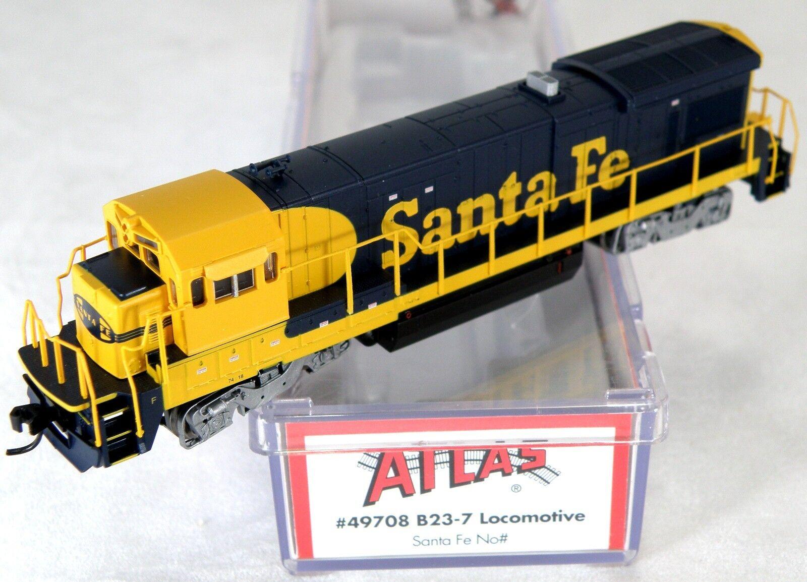 N Scale GE B23-7 Locomotive - Santa Fe No   - Atlas  49708