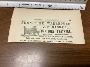 original removed 1869 ad: FURNITURE, FEATHERS on back DRESS & CLOCK MAKER mass