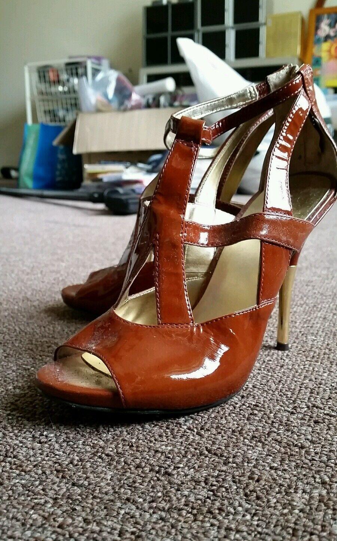 Nine brown west brown Nine heels 6.5 new leather 56d274