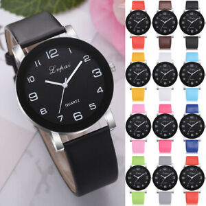 Womens-Girls-Leather-Strap-Line-Analog-Quartz-Ladies-Wrist-Watches-Fashion-Watch