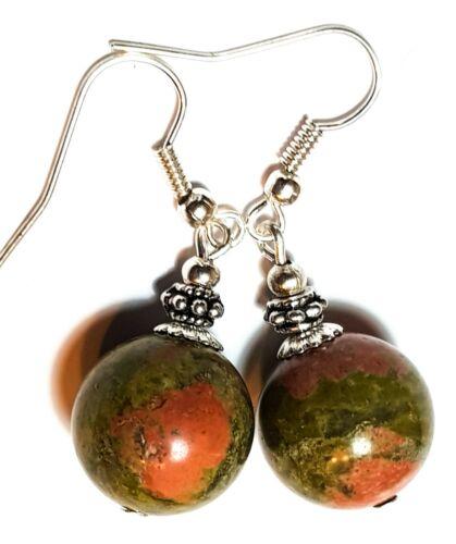 Large Silver Unikite Jasper Gemstone Bead Earrings Green /& Red Drop Dangle