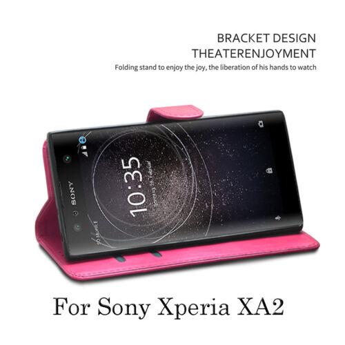 Pantalla Para Sony Xperia XA2 Case-Premium Cuero Billetera Abatible Estuche Petaca Cubierta