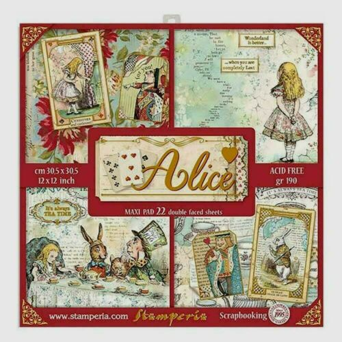 """Stamperia International 22 Sheet Doubled Faced Paper Pad 12/"""" X 12/""""  Alice New"""