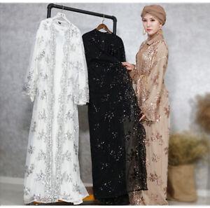 fe993bf4e0d Women Muslim Sequin Lace Kimono Abaya Open Cardigan Long Maxi Dress ...