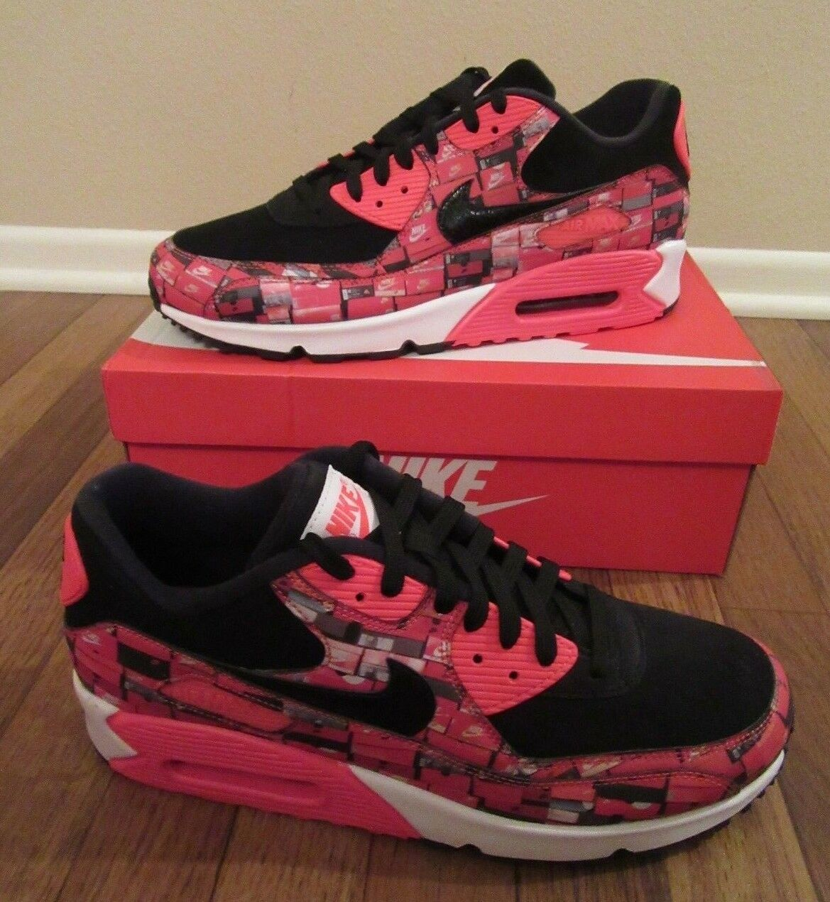 Nike Air Max 90 Print Size 11.5 Black Bright Crimson AQ0926 001 We Love Nike NIB