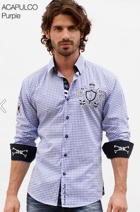 Absolute Rebellion Men Long Sleeve embroidery shirt Acapulco purple square patch