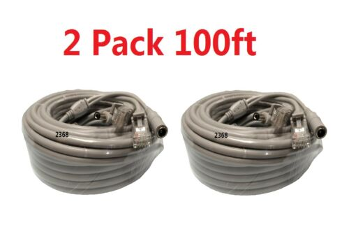 2x Cat5E Network Ethernet LAN Video//Thick Power Cable for CCTV IP Camera 100ft