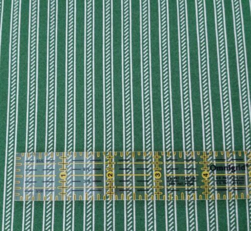 Collection of Edelin Wille Marcus Brothers BTY Green Off-White Stripe Christmas