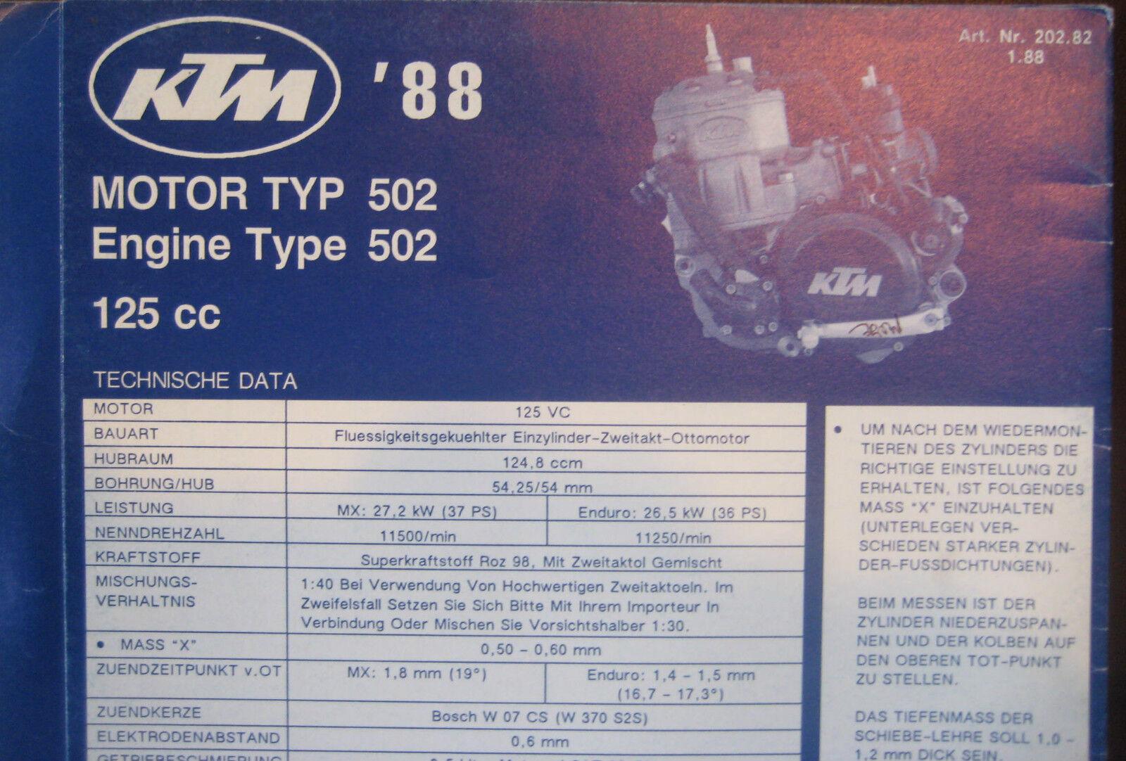 Ktm 1988 Part Number Diagram Poster Engine Type 502 125 Cc Diagrams Motorcycle Manual
