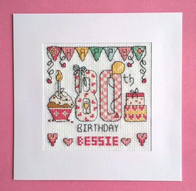 Happy 80th Birthday Cross Stitch Card Kit Ebay