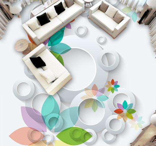 3D Circle flowers 012 Floor WallPaper Murals Wall Print Decal 5D AJ WALLPAPER