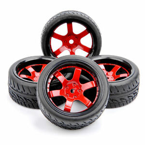 RC-4PCS-Run-flat-Tires-amp-Wheel-12mm-Hex-For-HSP-HPI-1-10-Scale-On-Road-Street-Car