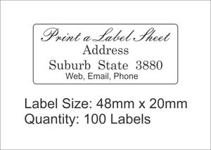 100-Personalised-Return-Address-Labels-Custom-Stickers-48mmx20mm-Laser-Printed