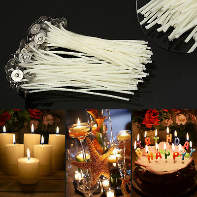 100pcs DIY Waxed Candle Making Wicks W// Sustainers Cotton core Coreless Holder