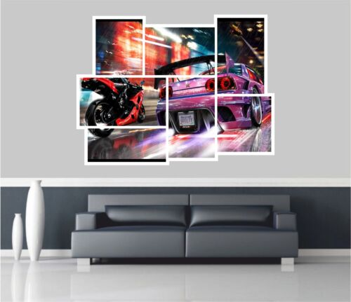 Huge Collage View Need For Speed Race Wall Stickers Wallpaper Mural 823