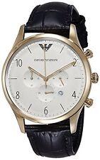 Emporio Armani Men's AR1892 Classic Gold-Tone White Dial Black Leather Watch