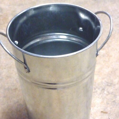 Galvanised metal floristry vase container side handles flowers foliages silver