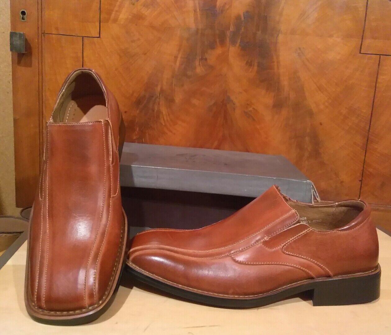 Mens Leather Dress shoes  Medium Brown Square toe Slip On  Loafer Wan Jinge NIB