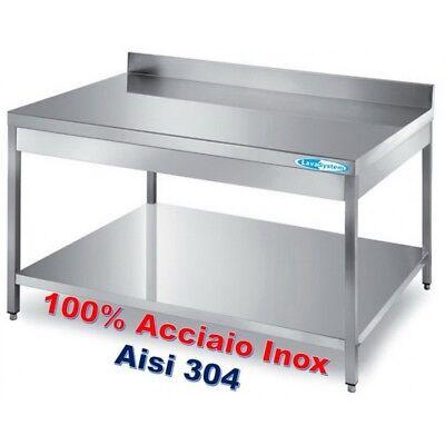 Tavolo Acciaio Inox cm 120x60x85H + Ripiano e Alzatina ...
