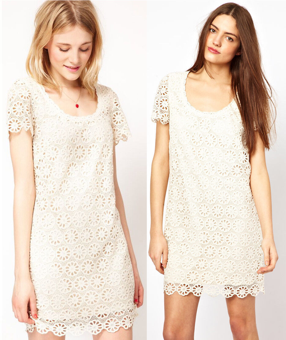 French Connection Lisella Crochet Lace Daisy Weiß Shift Dress