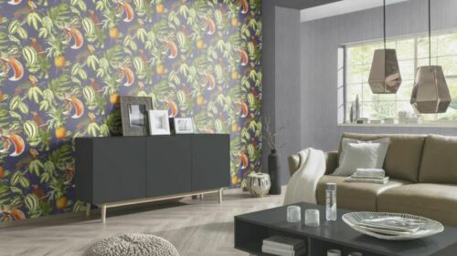 Paradiso Tropical Bird Parrot Toucan Wallpaper Blue Jungle Leaf Vinyl Paste Wall