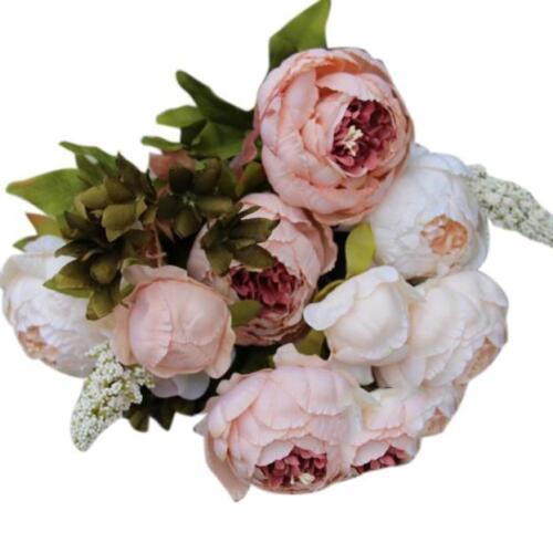 1Bouquet 8Heads Artificial Peony Silk Flower Leaf Wedding Party Decoration L