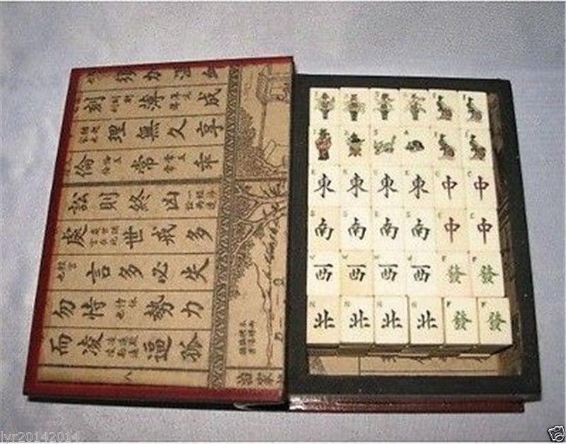 Beautiful Mah Jong Jong Jong Set in Leather book Box144 Tiles Tiles   Bamboo 981351