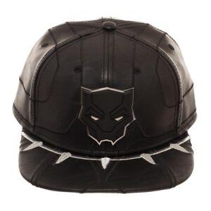 Image is loading Marvel-Comics-Black-Panther-Movie-Faux-Leather-Snapback- 434fbea8af32